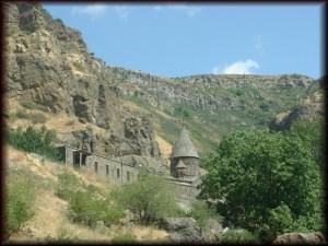 Visiting a medieval Geghard monastery in Armenia