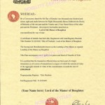Lord of the Manor certificate Medieval Archives