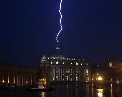 St Peter struck by lightning