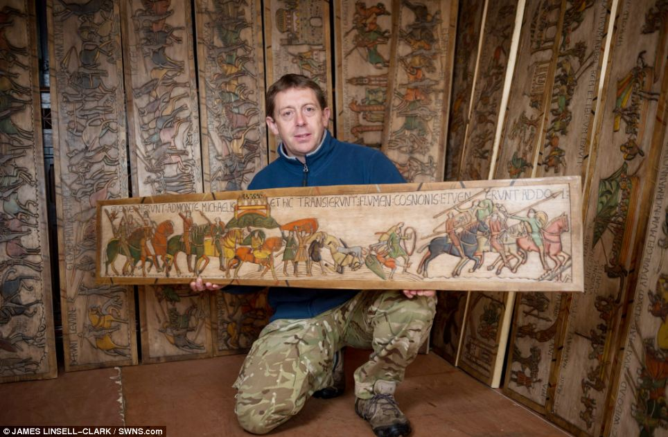 Bayeux tapestry woodcarving